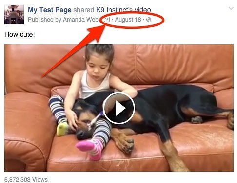 Click on the timestamp to open the individual page for the Facebook post