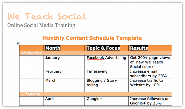 Social Media Content Schedule Template Media Content Schedule