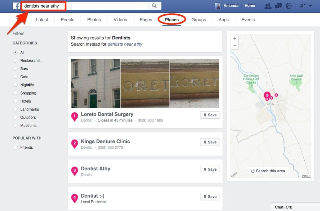 Facebook local search