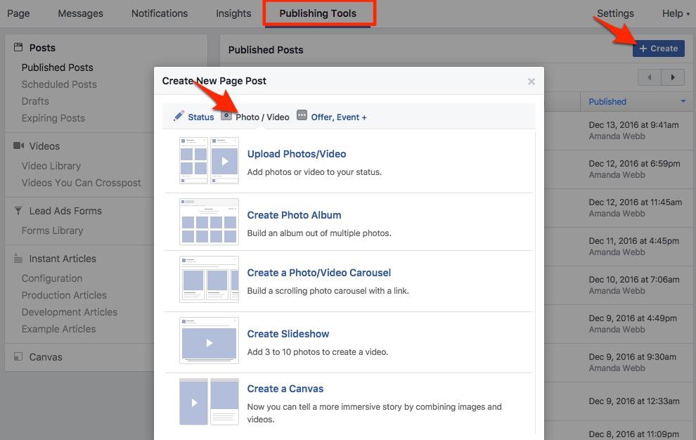 Photo publishing options moved to Publishing tab