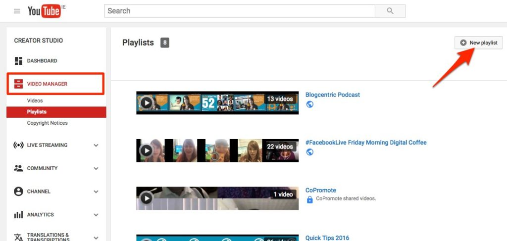 Select 'Playlists' from the sidebar under 'Video Manager'
