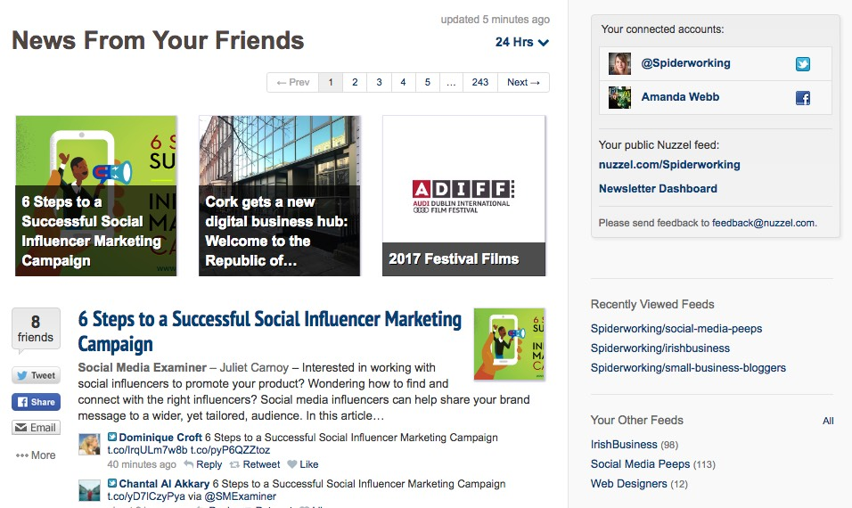 Nuzzel finds articles your friends share on social