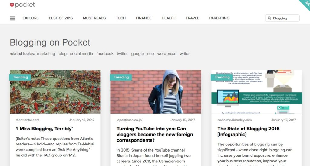 Use Pocket 'explore' to discover articles related to your interests