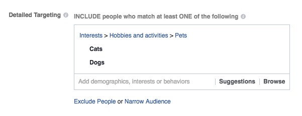 Targeting people who like cats OR dogs