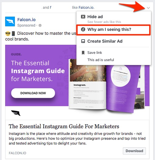 Find an ad in your feed and click the down arrow