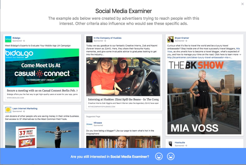 Ads targeted at people who are interested in Social Media Examiner