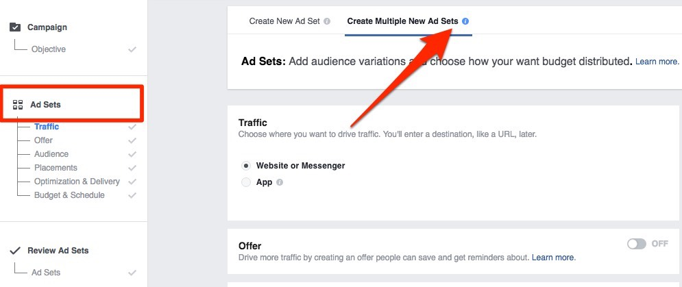Split test your audience at 'Ad set' creation stage
