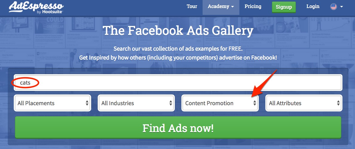 AdEspresso Facebook ads gallery is a search engine for ads