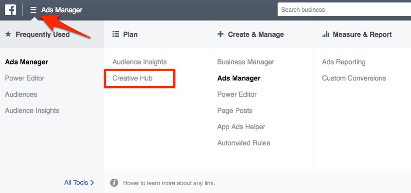 Find 'Creative Hub' in your ads manager.