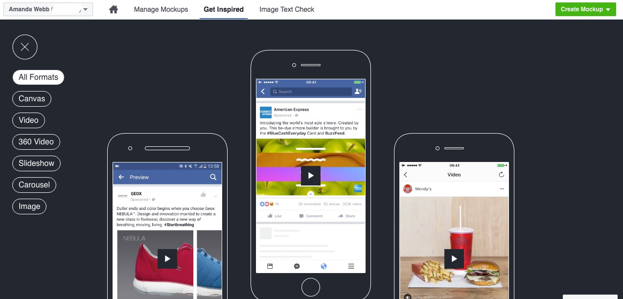 Click 'Get Inspiration' to see different ad examples