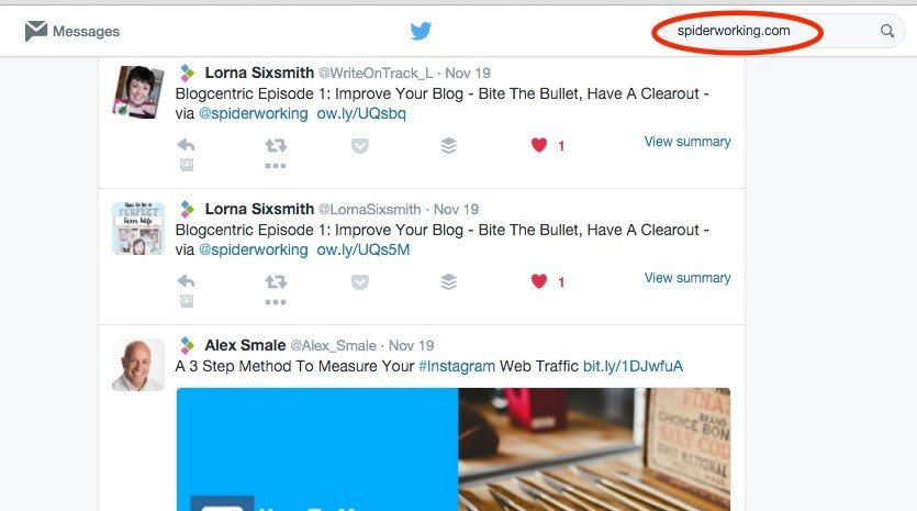 Search Twitter for mentions of your website.