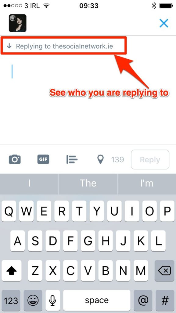 Blank tweet with 140 characters for replies