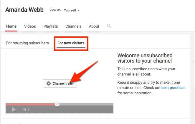 Click on 'For new visitors' to add your trailer