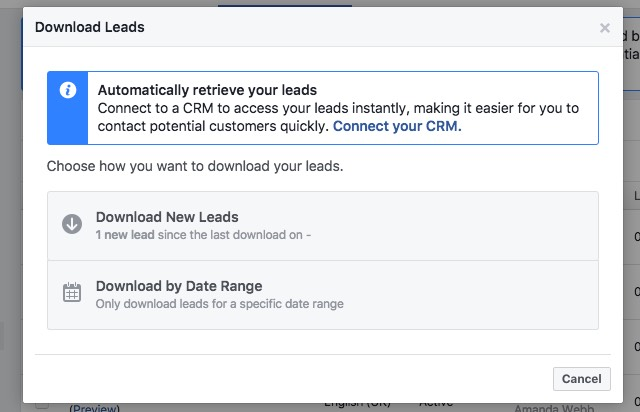 Download all leads or just those gathered since your last download.
