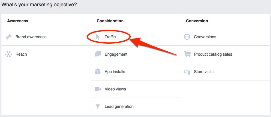 Choose the traffic objective when setting up ads that encourage people to message you