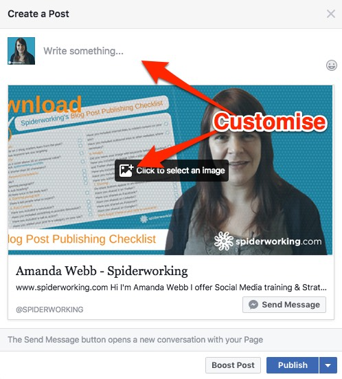 Customise your post to encourage people to click