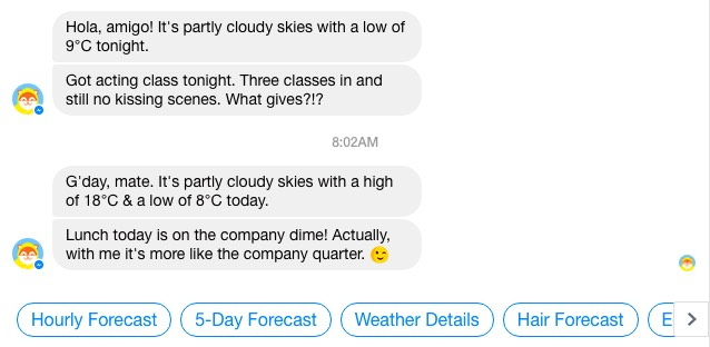 Twice daily weather reports with a sense of humour from the Poncho messenger bot