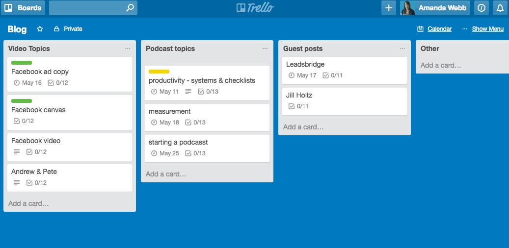 Organise your tasks onto a board