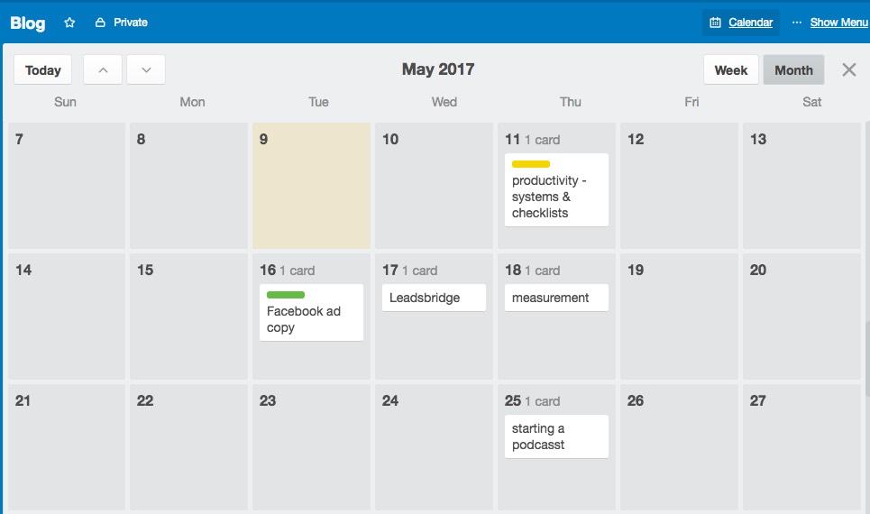 Power-up your Trello board to create a content calendar
