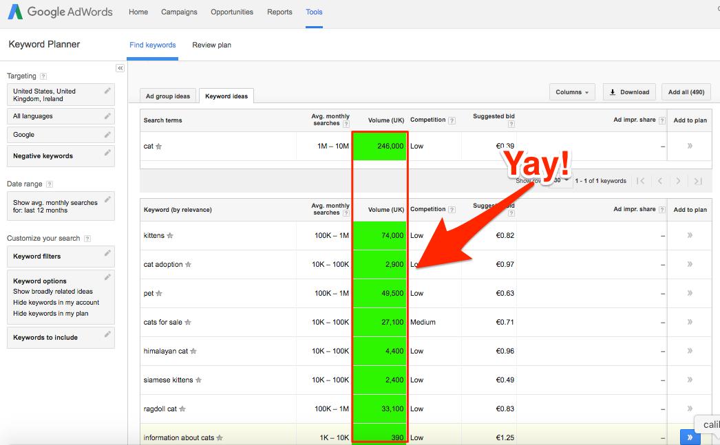 Restore Google Keyword Planner search volume with Keywords Everywhere